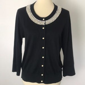 Kate Spade Black Cardigan with Pearls Large
